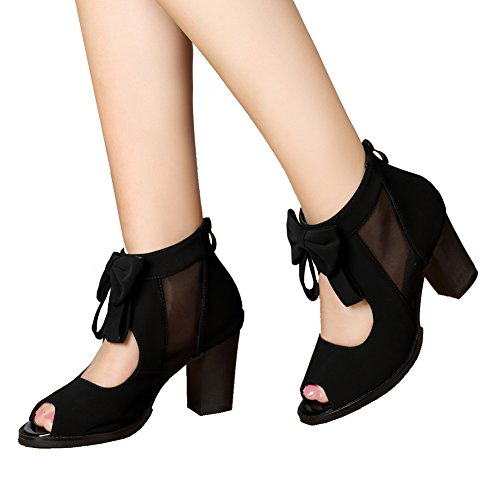 getmorebeauty Womens Peep Toe Cut Out Bows Vintage Chunky Heel Ankle Boots (9 B(M) US, Black) -