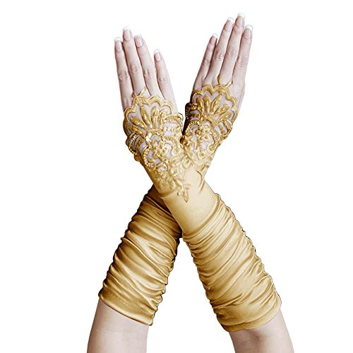 Long Gathered Satin Gloves - ZaZa Bridal Gathered Satin Fingerless Gloves w/ Floral Embroidery Lace & Sequins-Gold