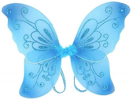 White Sparkling Fairy Costume Wings (Blue) (Adult Wings)