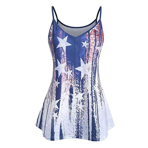 〓COOlCCI〓Women's Sexy Star V-Notch Sleeveless Beach Floral Tanktop Spaghetti Strap Tops Blouse Vests Camisoles Blue (Roxy Belted Belt)
