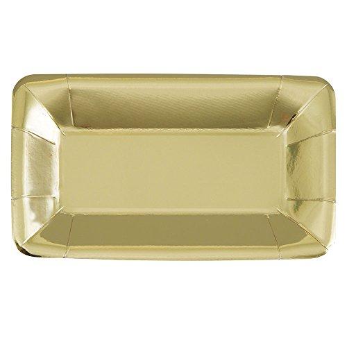 Foil Gold Rectangle Paper Appetizer Plates, 8ct