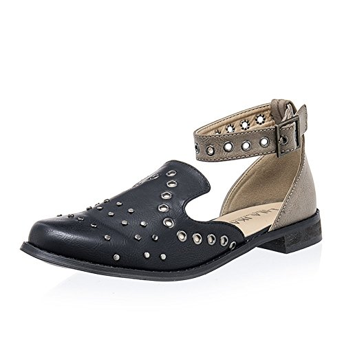 Studded Flat Sandals - Women Studded Flat Sandal Closed Toe Ankle Strap Leather Cut Out Comfy Summer Beach Shoes