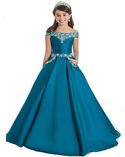 GreenBloom Off The Shoulder A Line Pageant Dresses with Beaded Corset Pockets Formal Dresses 16 Teal