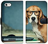 Apple iPhone 7 and iPhone 8 Flip Fabric Wallet Case Sleepy Beagle Dog in Funny Glasses Near Laptop Image 25970204 Customized Tablemats Stai