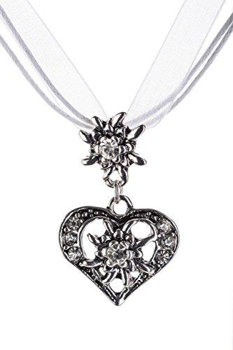 Trachtenkette elegantes Herz mit Strass und Edelweiss Anhänger Trachtenschmuck Kette für Dirndl und Lederhose Damen in vielen Farben (Weiss)