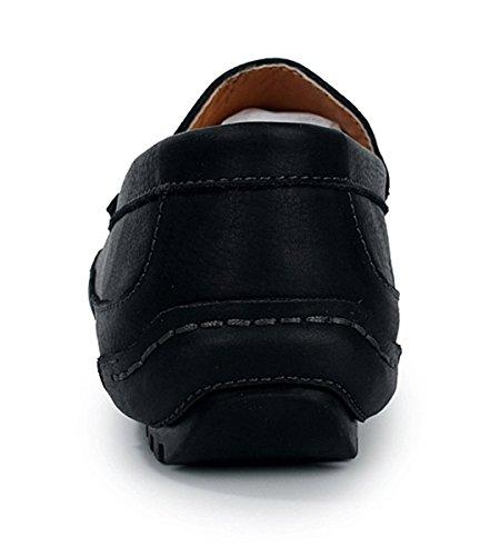 Tda Herenmode Comfortabele Slip Op Leren Rijden Zakelijke Jurk Loafers Bootschoenen Zwart