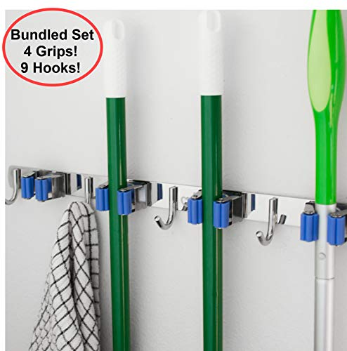 Hooks n Holders Home Organizers and Storage. Kitchen Organization and Storage, Mop and Broom Holder Wall Mount, Laundry Room Organizer, Mounted Garden Tool Hanger, Garage Organizer Rack, Wall Hangers