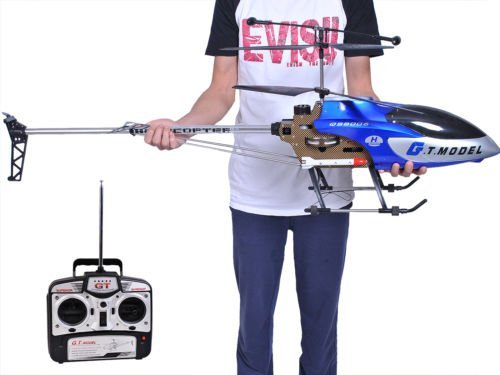 53 Inch Extra Large GT QS8006 2 Speed 3.5 Ch RC Helicopter Builtin GYRO Blue by Unbranded