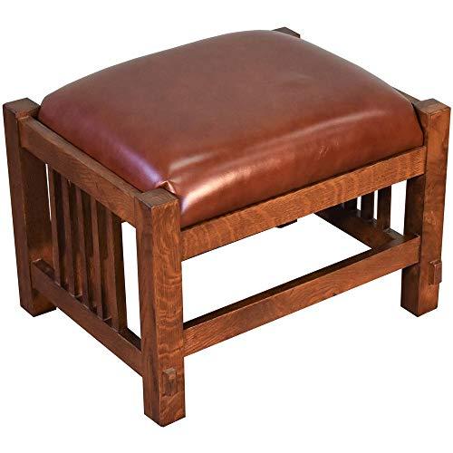 (Mission Spindle Stool - Quarter Sawn Oak & Leather #1515)