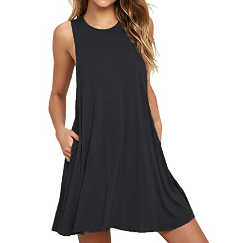 - DD DEMOISELLE Sleeveless Leisure Wear Sundress, Women's Comfy Soft Stretch Night Maternity Dress Tunic Shift Fashion Loose Swing Solid Casual Simple T-Shirt with Pocket, Black, Large