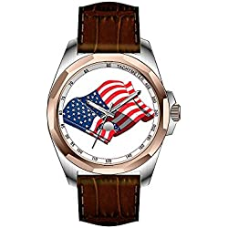 AIMS Christmas gift Mens gold Personalized Unique Fashion Design Waterproof Wrist Watch American Flag Stainless Watch