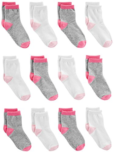 Simple Joys by Carter's Baby Girls' 12-Pack Sock Crew, Pink/Gray/White, 6-12 Months from Simple Joys by Carter's