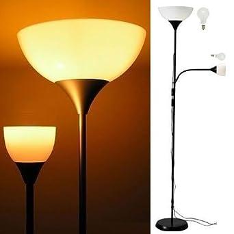 Modern Floor Lamp with Adjustable Reading Light Black Frame White ...