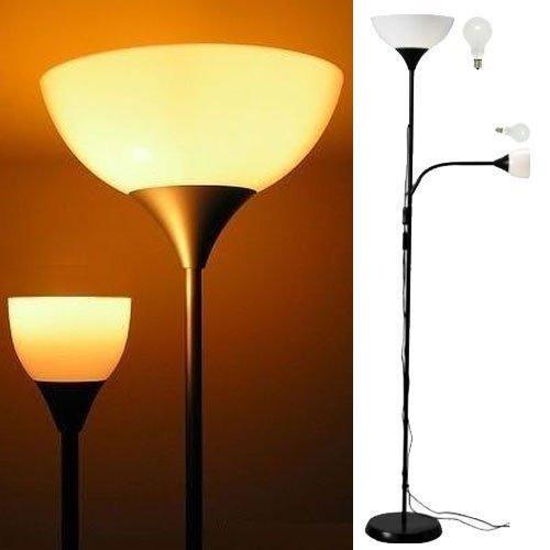 2 Bulb Floor Lamp: Modern Floor Lamp with Adjustable Reading Light Black Frame White Shades 2  Bulbs Included - - Amazon.com,Lighting