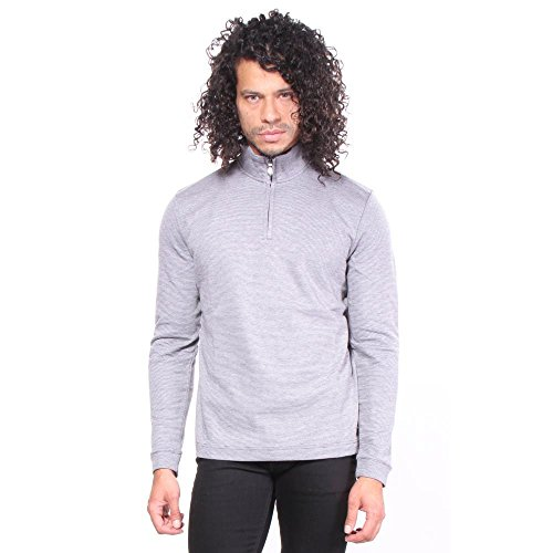 BOSS Green Men's C-Piceno Zip Neck Sweater, Grey, M