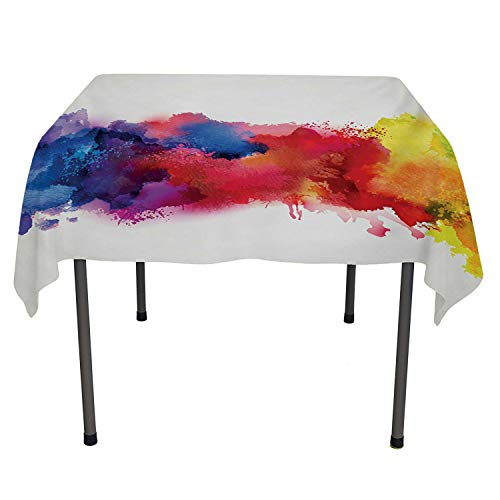 Abstract Table Cover Vibrant Stains of Watercolor Paint Splatters Brushstrokes Dripping Liquid Art Red Yellow Blue Multicolored Table Cloth Spring/Summer/Party/Picnic 60 by 84 ()