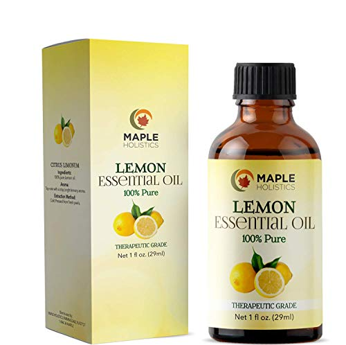 Lemon Essential Oil Therapeutic Grade Aromatherapy for Diffuser - 100% Pure Cold Pressed Undiluted Oil for Stress - Lemon Oil for Skin + Hair - Multipurpose Cleaner - Energizing + Uplifting Aroma