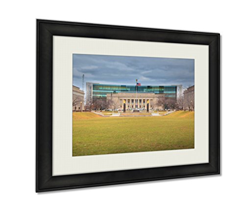 Ashley Framed Prints, Indiana Public Library In American Legion Mall Indianapolis, Wall Art Decor Giclee Photo Print In Black Wood Frame, Ready to hang, 20x25 Art, - Malls Indianapolis Indiana