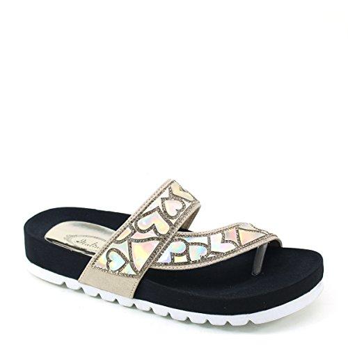 Nuova Brieten Da Donna Ampia Stampa Strappy Cuore Strass Comfort Sandalo  Con Suola Scivolata Sandali Oro