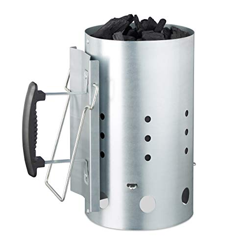 Relaxdays XL, Stahl, Grillkohleanzünder für BBQ, Kamin, Grills, HxD: 30 x 19 cm, Grillstarter, Silber Anzündkamin