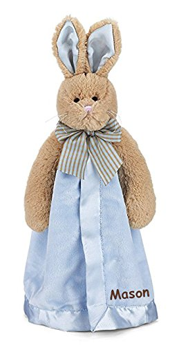 Personalized Bearington Bunny Tail Plush Snuggler Security Blanket Blanky - 18 Inches
