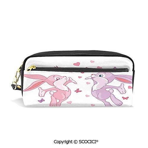 Printed Pencil Case Large Capacity Pen Bag Makeup Bag Valentine Bunnies in Air with Love Hearts and Butterflies Home Decor Decorative for School Office Work College Travel ()