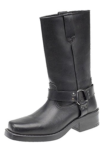 11 Men's inch Black Ukayed On Harness Boots Pull Western Cowboy Leather Biker 1fq5dw5