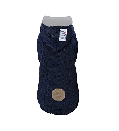 Dog Hoodie,Rdc Pet Clothes,Dog Woolen Sweater with Cap,Winter Warm Turtleneck Sweater Fleece Coat for Small Dog & Medium Dog & Cat (L, Blue)