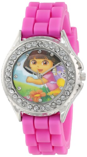 nickelodeon-kids-dor9023-dora-the-explorer-silver-tone-watch-with-pink-band