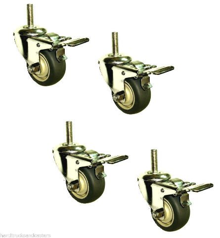 Set of 4 Stainless Steel Swivel Stem Caster with 3