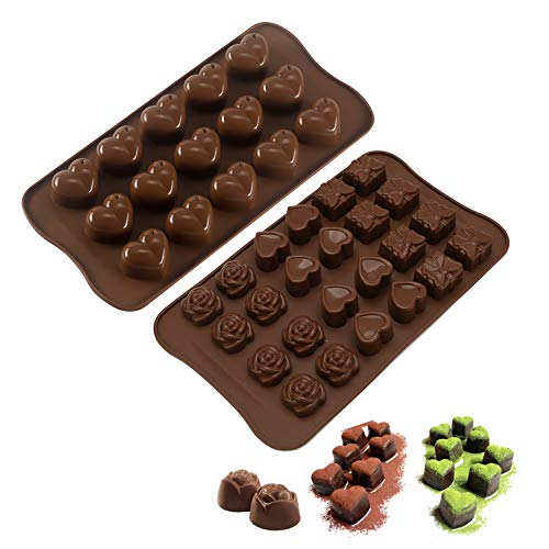 (TraderPlus 2 Pack Silicone Heart Shape Chocolate Molds Candy Tray for DIY Cake Biscuit Cookie Jelly Ice Cube Soap)
