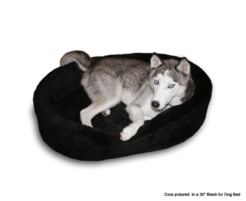 Dog Bed King Cuddler American Made Large Black Fur Pet Bed. Outside Dim. 33x23x7″. Inside Dim. 30x20x7″. Removable Washable Cover., My Pet Supplies