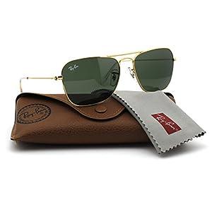 Ray-Ban RB3136 001 Caravan Sunglasses Gold Frame / Green Classic Lens 55mm