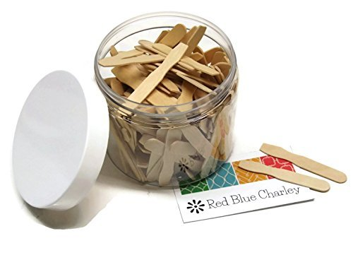 500 Wooden Cosmetic Spatulas with Container by Red Blue - Charley Blue