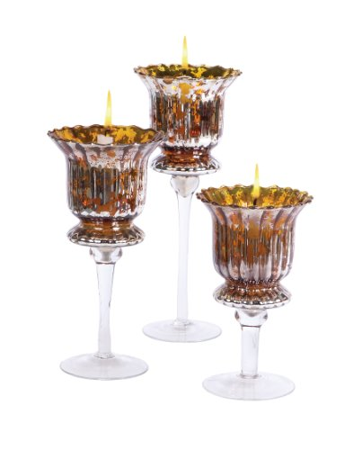 Melrose Glass Candle Holder 8, 10 and 12-Inch Tall, Set of 3 by Melrose International