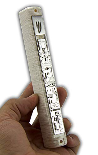 (Judaica-MP 3D Metal Painted Brown Stripes Plastic MEZUZAH CASE with Jerusalem Wall Plaque & Rubber Cork - for 6