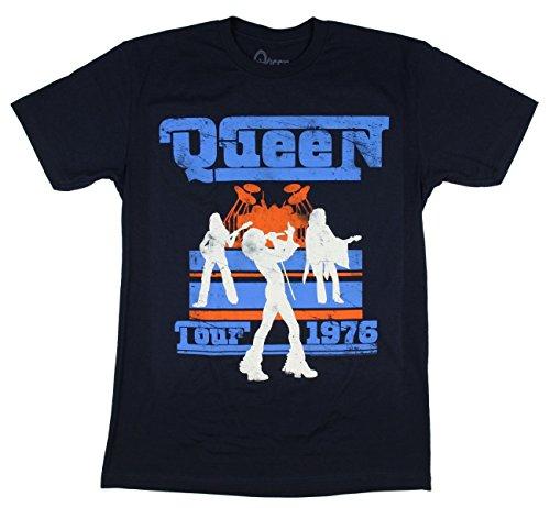 """Queen """"Tour 1976"""" Blue T-Shirt New Adult"""