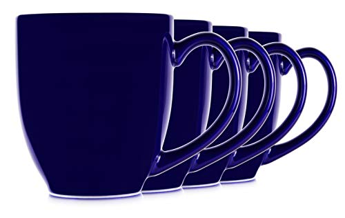 - 14oz Blue Cobalt Mugs for Coffee or Tea. Large Handles and Ceramic Construction, Set of 4 by Serami