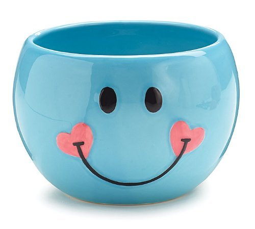 - Adorable Blue Smiley Face/Happy Face Planter/Candy Dish with Hearts