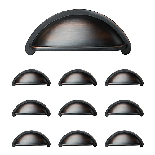 Misses Pull (Oil Rubbed Bronze Kitchen Cabinet Pulls - 3 Inch Bin Cup Drawer Handles - 10 Pack of Kitchen Cabinet Hardware)