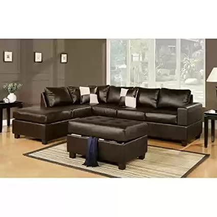 Amazon Com 3 Pc Bonded Leather Sectional Storage Ottoman In