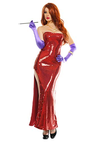 Deluxe Sequin Hollywood Singer Costume Red Sequin Dress for Women Large]()