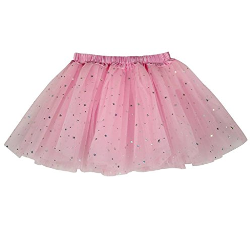 Buenos Ninos Girl's 3 Layers Sequin Ballet Dance Skirt with Sparkling Stars Dress-up Tutu Pink ()