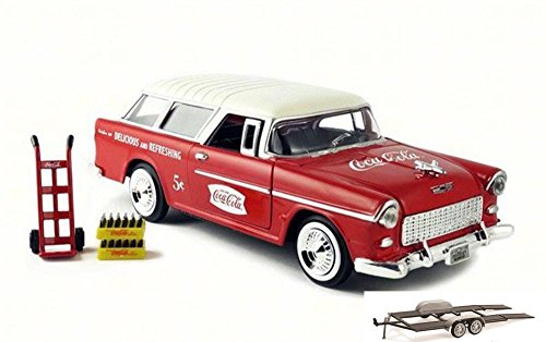 - Diecast Car & Trailer Package - 1955 Chevy Bel Air Nomad Wagon, Red w/ White Top - Motor City Classics 424110 - 1/24 Scale Diecast Model Toy Car w/Trailer