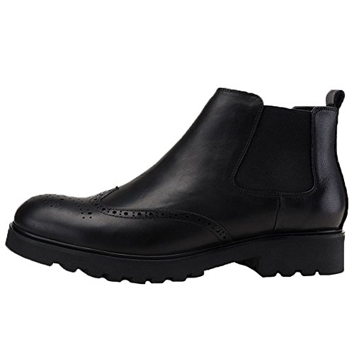 Santimon Fur Men's Brogue Elastics Wingtip on Black Dress Boots Chelsea Slip Leather q7OnwOx
