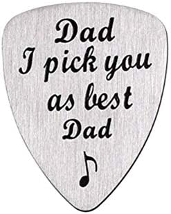 SUPVOX お父さんと刻まれたギターのピックアップ私はあなたに最高のお父さんのパターンとしてあなたをピックアップパーソナライズされたステンレスギターピック