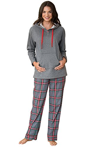 PajamaGram Hooded Fleece and Flannel Plaid Pajamas for Women, Gray