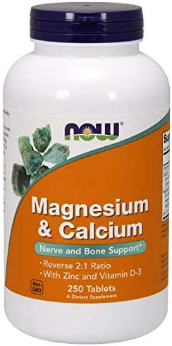 Now Supplements, Magnesium & Calcium, with Zinc and Vitamin D-3, Nerve and Bone Support*, 250 Tablets