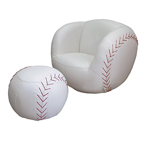 Baseball Kids Chair & Ottoman Set in White Finish - Baseball Chair And Ottoman