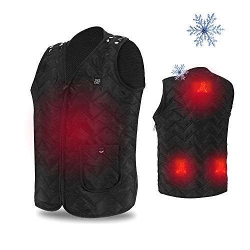 USB Electric Heated Vest, Size Adjustable Heated Clothing for Body Warmer in Cold Winter Outdoor Activities Hunting Camping Hiking Skiing Motorcycle Travel with Free Laundry Bag